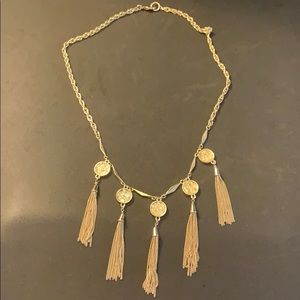 Gold chain fringe necklace